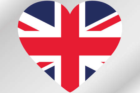 design media love: A Flag Illustration of a heart with the flag of  United Kingdom