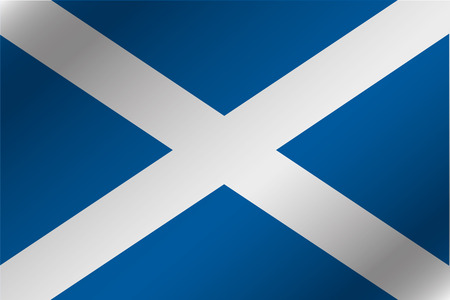 A 3D Wavy Flag Illustration of the country of  Scotland