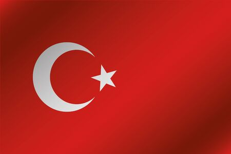 3d turkey: A 3D Wavy Flag Illustration of the country of  Turkey