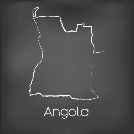 A Country Shape isolated on chalk board with the name and shape of Angola Stock Photo