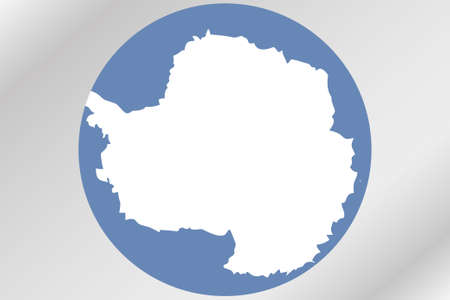antartica: A Flag Illustration within a circle of the country of  Antartica