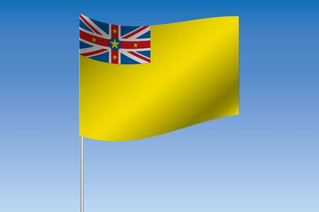 niue: A 3D Flag Illustration waving in the sky of the country of  Niue