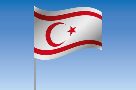 A 3D Flag Illustration waving in the sky of the country of  Northern Cyprus
