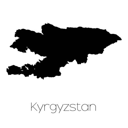 kyrgyzstan: A Country Shape isolated on background of the country of Kyrgyzstan