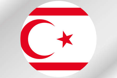A Flag Illustration within a circle of the country of  Northern Cyprus Stock Photo