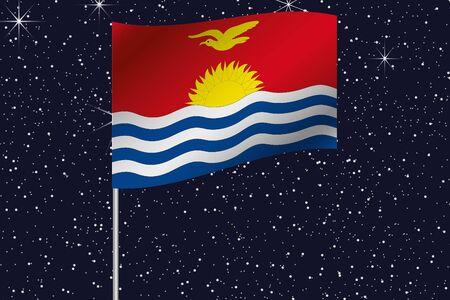 kiribati: 3D Flag Illustration waving in the night sky of the country of  Kiribati
