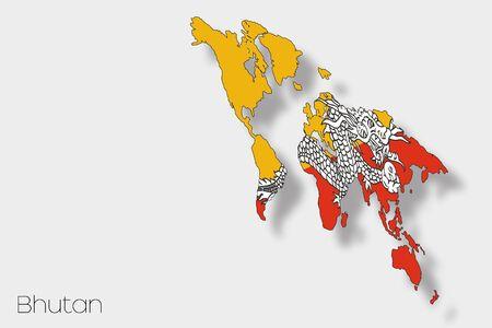 bhutan: A 3D Isometric Flag Illustration of the country of  Bhutan