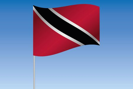 trinidad: A 3D Flag Illustration waving in the sky of the country of  Trinidad and Tobago
