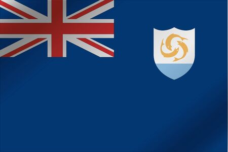 anguilla: A 3D Wavy Flag Illustration of the country of  Anguilla