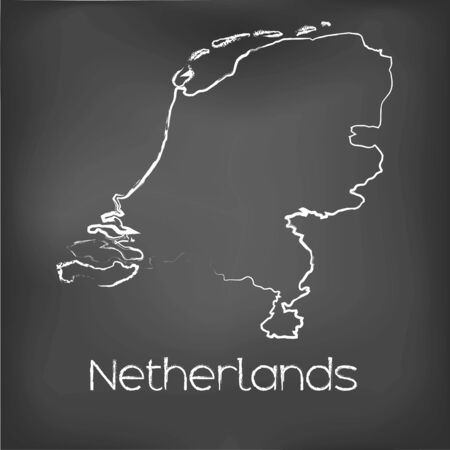 border line: A Country Shape isolated on chalk board with the name and shape of Netherlands Stock Photo