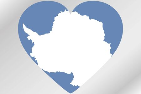 antartica: A Flag Illustration of a heart with the flag of  Antartica