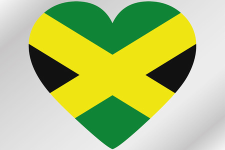 design media love: A Flag Illustration of a heart with the flag of  Jamaica Stock Photo