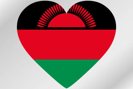 malawi flag: A Flag Illustration of a heart with the flag of  Malawi Stock Photo