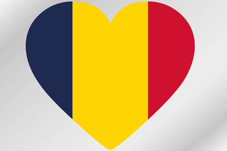 design media love: A Flag Illustration of a heart with the flag of  Chad