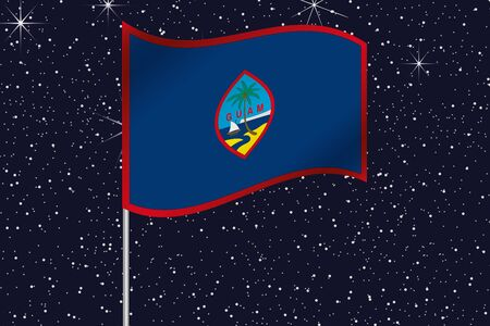 guam: 3D Flag Illustration waving in the night sky of the country of  Guam Stock Photo