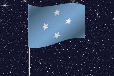 micronesia: 3D Flag Illustration waving in the night sky of the country of  Micronesia