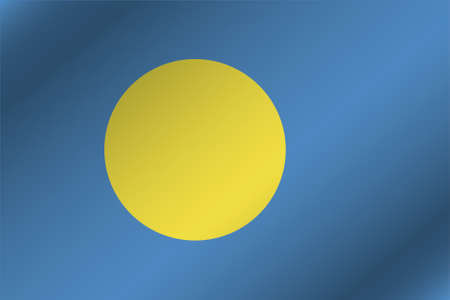 palau: A 3D Wavy Flag Illustration of the country of  Palau