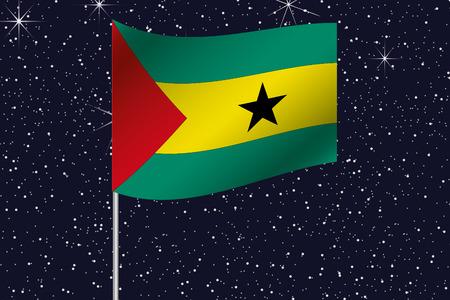 principe: 3D Flag Illustration waving in the night sky of the country of  Sao Tome E Principe Foto de archivo
