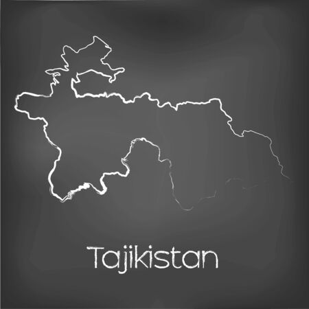 tajikistan: A Country Shape isolated on chalk board with the name and shape of Tajikistan