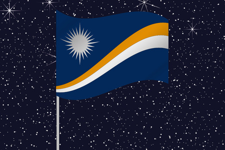 marshall: 3D Flag Illustration waving in the night sky of the country of  Marshall Islands