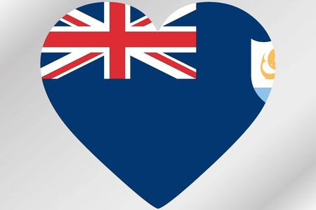 design media love: A Flag Illustration of a heart with the flag of  Anguilla