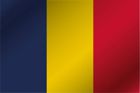 A 3D Wavy Flag Illustration of the country of  Chad