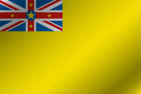 niue: A 3D Wavy Flag Illustration of the country of  Niue
