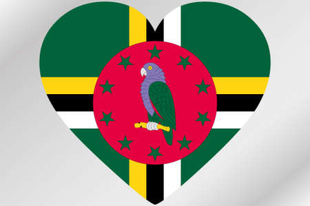 design media love: A Flag Illustration of a heart with the flag of  Dominica