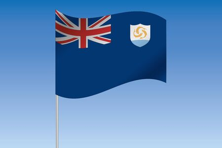 anguilla: A 3D Flag Illustration waving in the sky of the country of  Anguilla Stock Photo