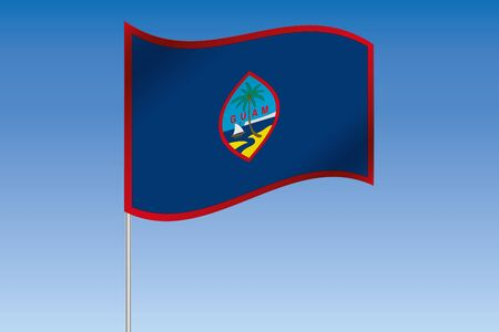 guam: A 3D Flag Illustration waving in the sky of the country of  Guam