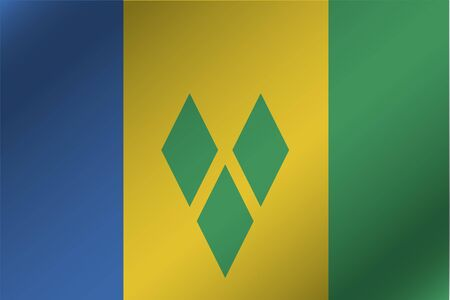 grenadines: A 3D Wavy Flag Illustration of the country of  Saint Vincents and the Grenadines