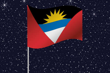 antigua: 3D Flag Illustration waving in the night sky of the country of  Antigua and Barbuda