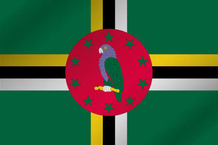 dominica: A 3D Wavy Flag Illustration of the country of  Dominica