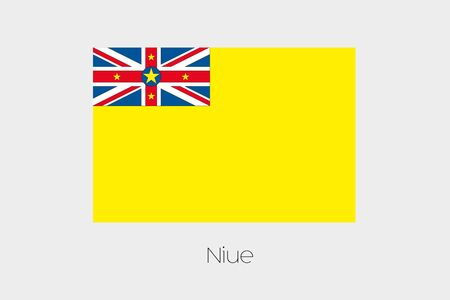 niue: An Illustration of the flag, with name, of the country of Niue Stock Photo