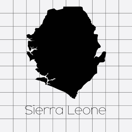 leone: A Squared Background with the country shape of Sierra Leone