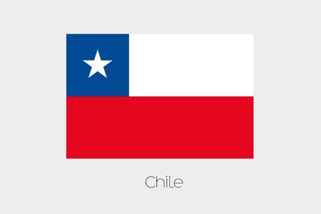 bandera de chile: Una ilustración de la bandera, con nombre, del país de Chile