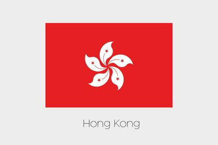 hong: An Illustration of the flag, with name, of the country of Hong Kong Stock Photo