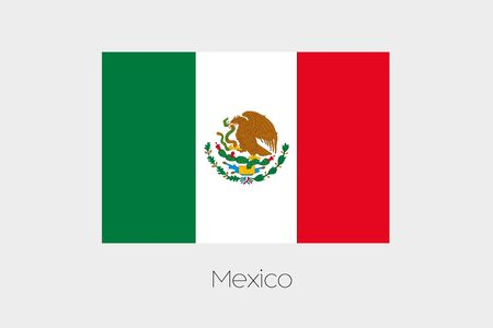 mexico: An Illustration of the flag, with name, of the country of Mexico Stock Photo