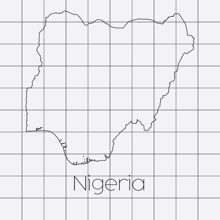 country nigeria: A Squared Background with the country shape of Nigeria Stock Photo
