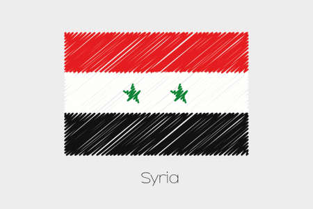 garabatos: A Scribbled Flag Illustration of the country of Syria