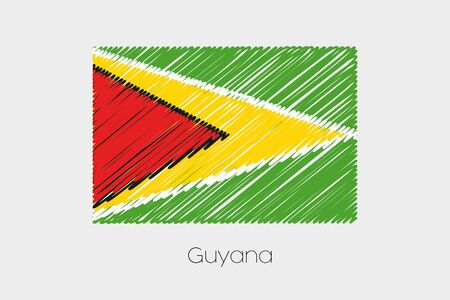 garabatos: A Scribbled Flag Illustration of the country of Guyana Foto de archivo