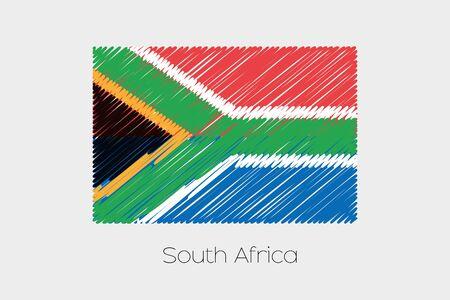 garabatos: Una ilustración de la bandera garabateado del país de Africa del Sur