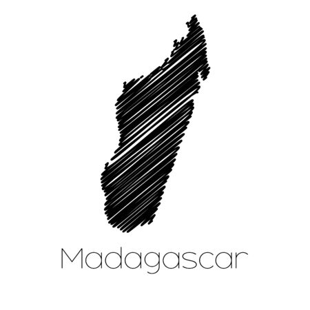 scribbled: A Scribbled Map of the country of  Madagascar Stock Photo