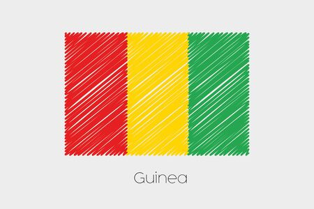 jot: A Scribbled Flag Illustration of the country of Guinea