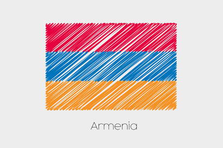 garabatos: A Scribbled Flag Illustration of the country of Armenia