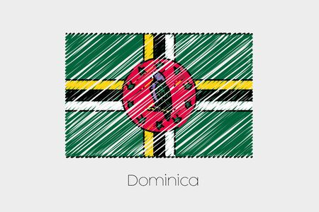 dominica: A Scribbled Flag Illustration of the country of Dominica Stock Photo