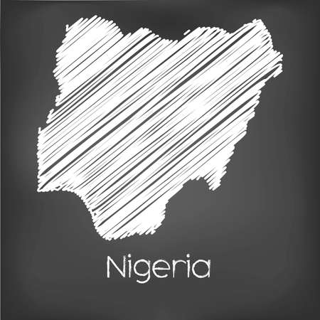 country nigeria: A Scribbled Map of the country of Nigeria
