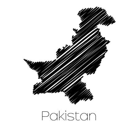 scrawl: A Scribbled Map of the country of  Pakistan Stock Photo