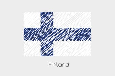 jot: A Scribbled Flag Illustration of the country of Finland