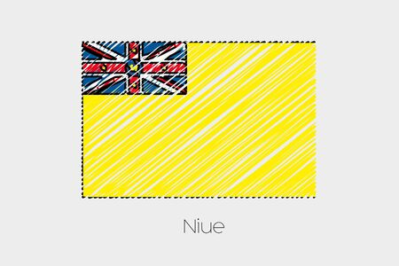 niue: A Scribbled Flag Illustration of the country of Niue